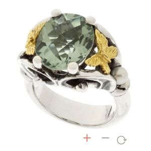 Anne King Green Butterfly Ring-size 6